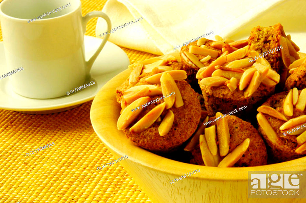 Stock Photo: Close-up of almond muffins in a bowl.