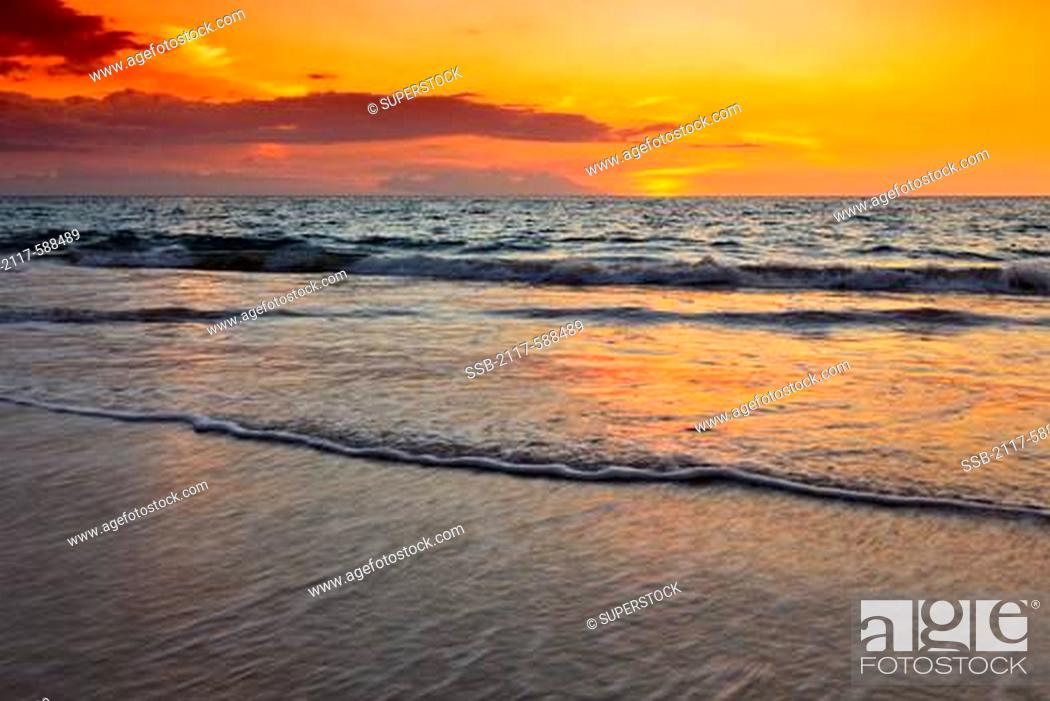 Hawaii Sunset At Hapuna Beach Stock Photo Picture And