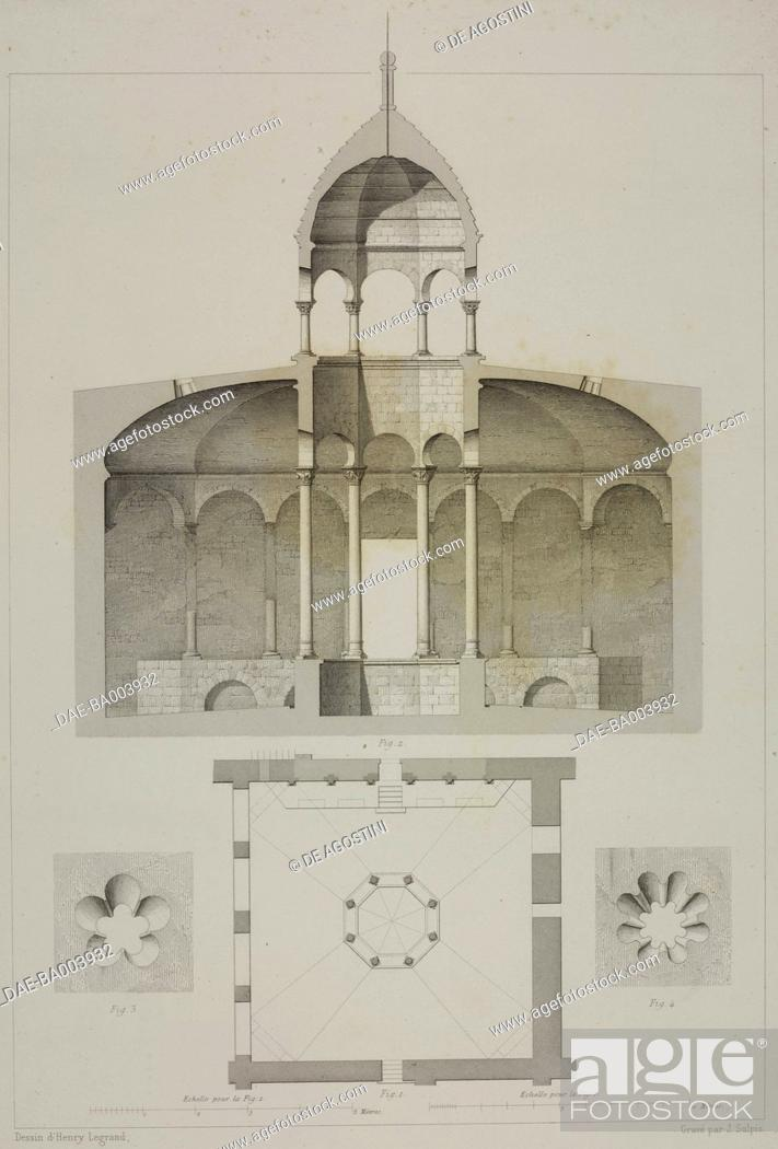 Stock Photo: Section and floor plan of the Arab Baths (Banys Arabs), in Girona, Spain, drawing by Henry Legrand, engraving by Jean-Joseph Sulpis (1826-1911).