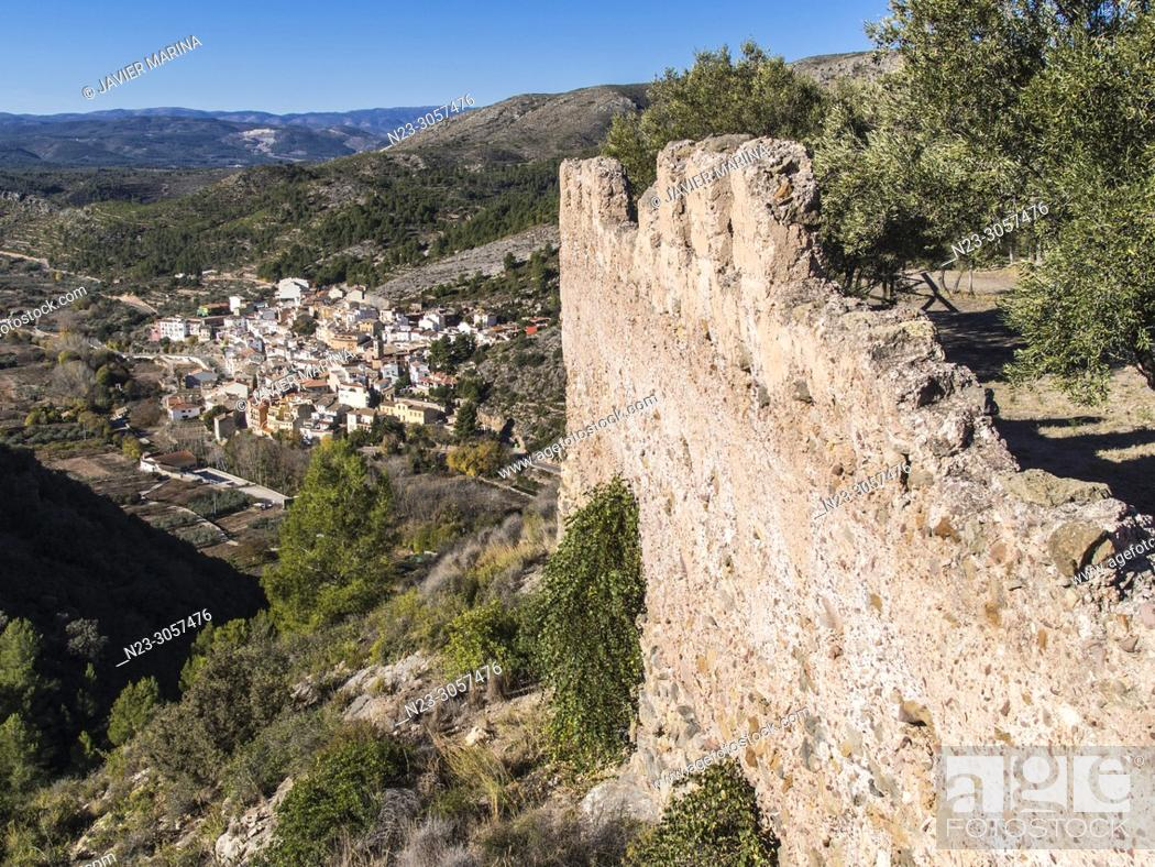 Stock Photo: View from the Algimia castle of Almonacid, Valencia, Spain.