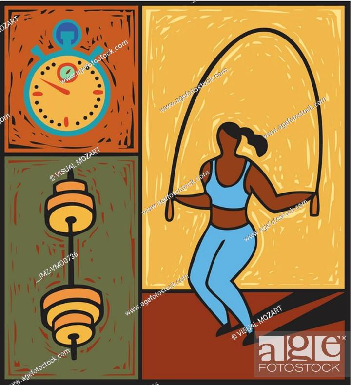 Stock Photo: Illustration of a woman using a jump rope.