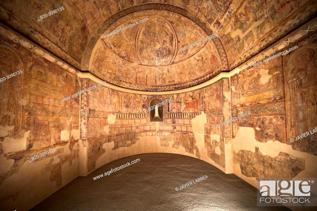 Stock Photo: Mural paintings. Ermita de Nuestra Señora del Rosario en Osia (Huesca), Diocesan Museum of Jaca, Museo Diocesano de Jaca, Jaca, Huesca province, Aragón, Spain.