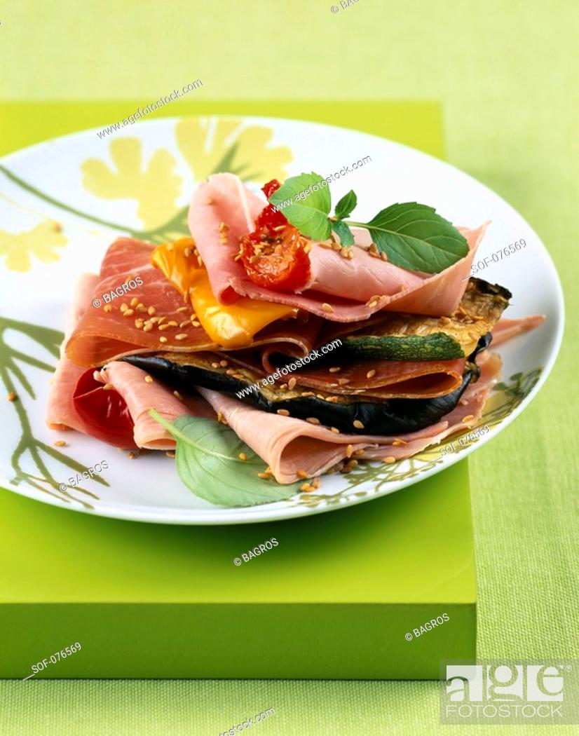 Stock Photo: ham and grilled vegetable layer.