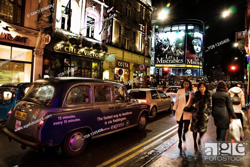 Stock Photo: Theaters, shaftsbury avenue, West End, London, England, United kingdom, Europe.