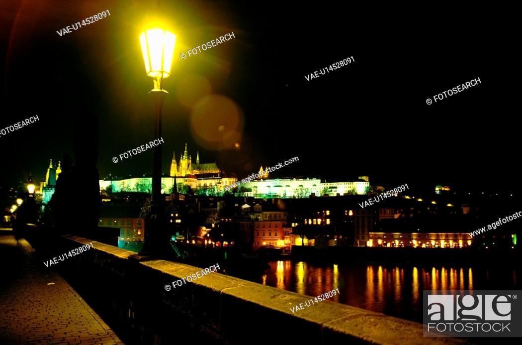 Stock Photo: night view, scene, prague, Czech, Europe, tourist resort.