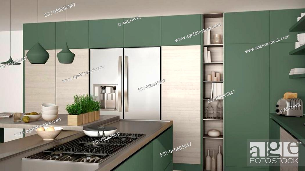 Stock Photo: Modern wooden kitchen with wooden details, close up, gas stove with cooking pan, white and green minimalistic interior design.