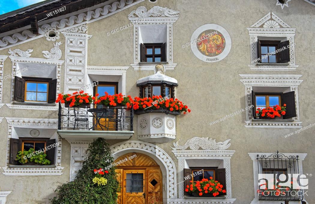 Stock Photo: Typical Engadine house at the La Plazetta square, Scuol, Engadine, Graubunden, Grisons, Switzerland.