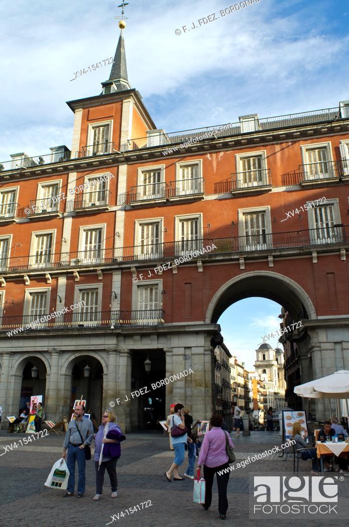 Stock Photo: Plaza Mayor, Madrid, Spain, Europe.