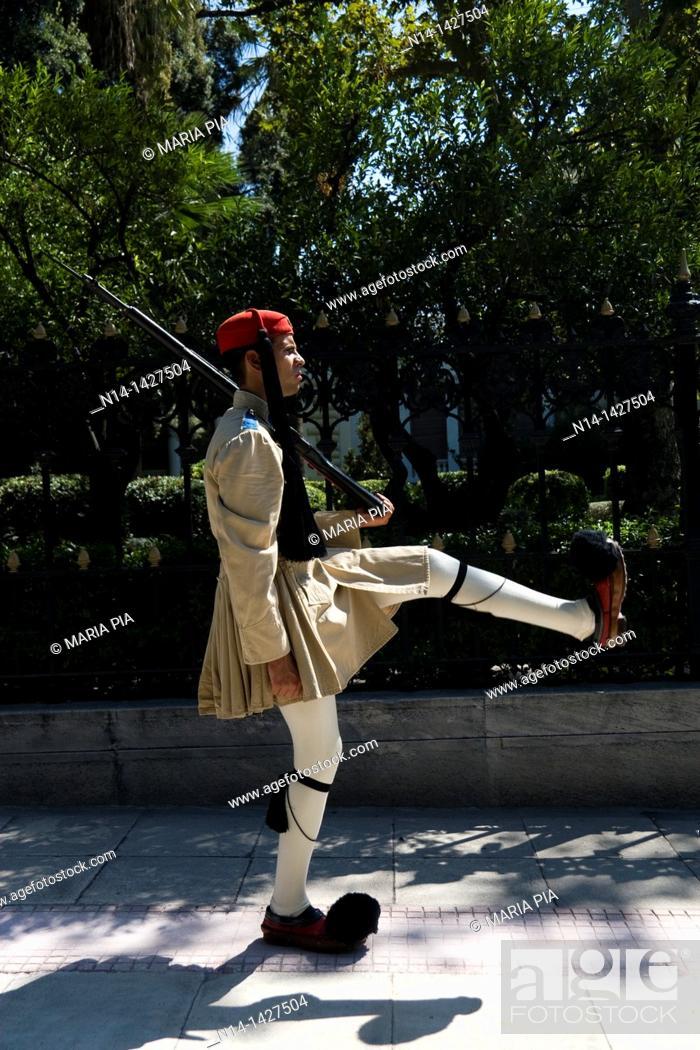 Stock Photo: Greek guard, fustanella, Athens, Greece.