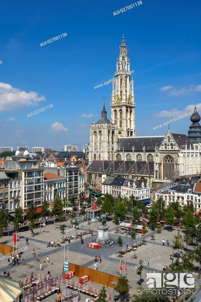 Stock Photo: Belgium - Flanders - Antwerp - View on the Groenplaats Green Square and Cathedral of Our Lady Onze-Lieve-Vrouwekathedraal.