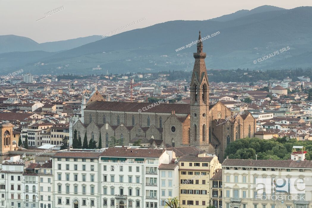 Stock Photo: The Basilica di Santa Croce the principal Franciscan church in Florence seen from Piazzale Michelangelo Tuscany Italy Europe.
