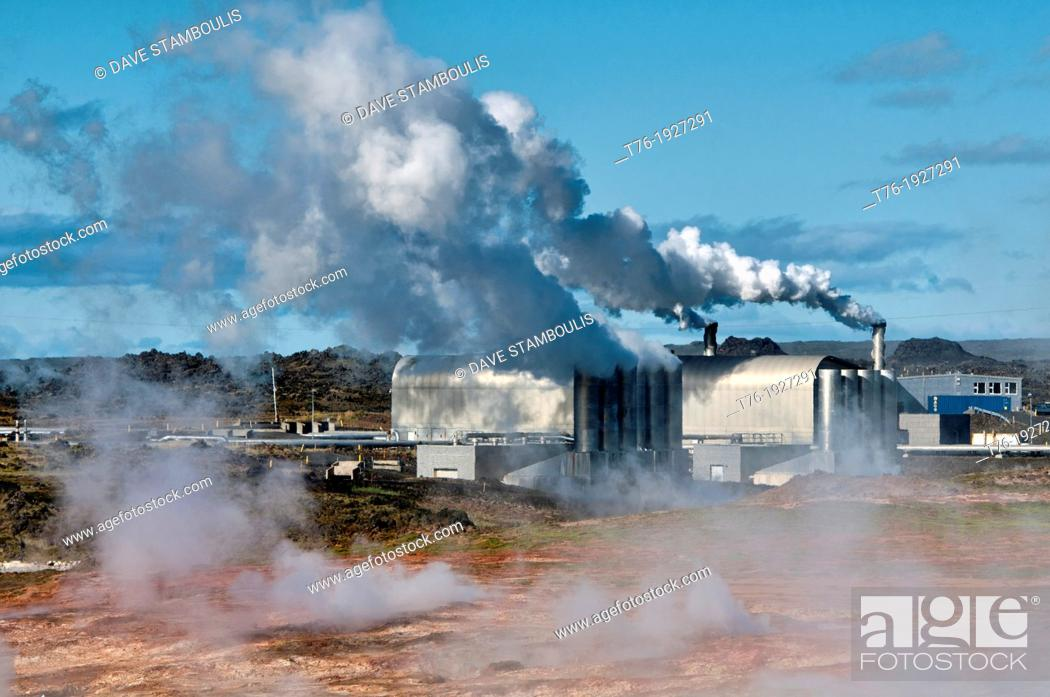 Stock Photo: The Reykjanes Power Station, a geothermal power plant in southern Iceland.