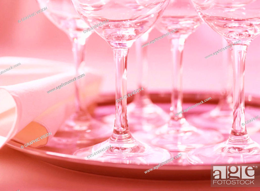 Stock Photo: Close Up of Stemmed Wineglases on Tray.