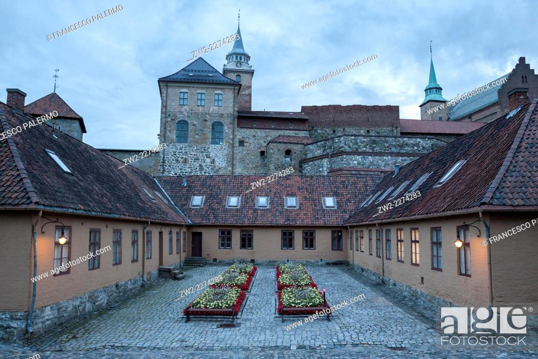 Stock Photo: Inside view of Akershus Fortress medieval castle built to protect. Oslo, Ostlandet. Norway.