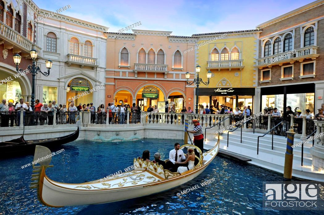 Stock Photo Tourists In A Replica Of Venetian Streets Under An Artificial Sky Wedding Gondola Ceremony Grand C 5 Star Luxury Hotel