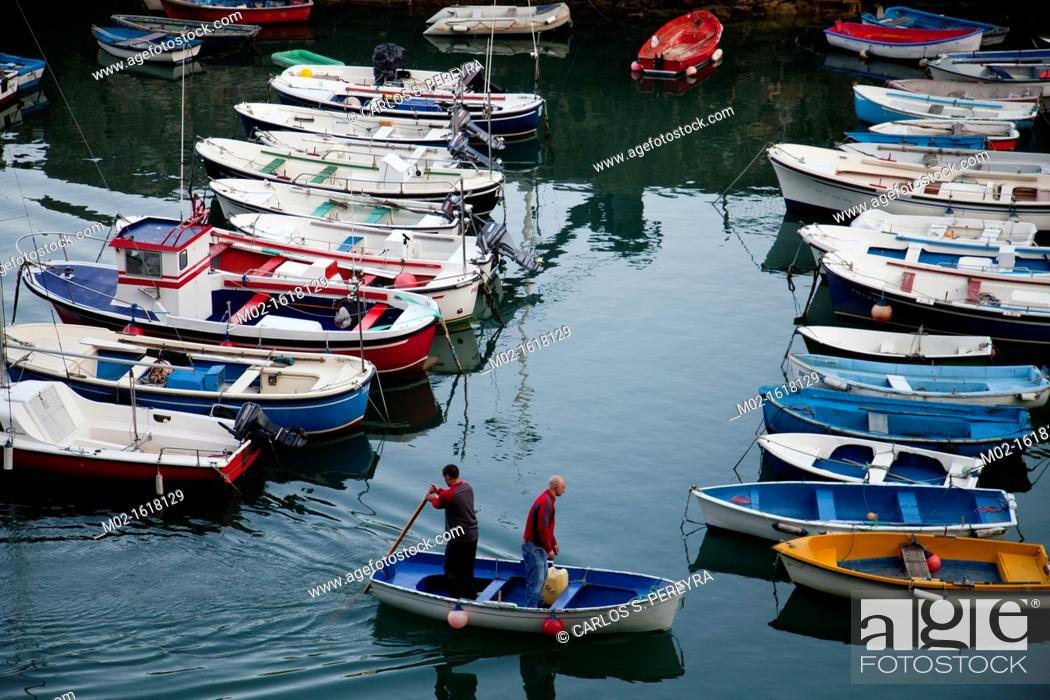 Stock Photo: Port of Mutriku in the coast of Guipuzcoa, Basque Country, Spain.