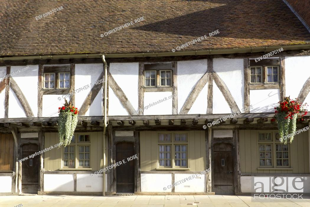 Stock Photo: A picturesque corner in the town of Tewkesbury, Gloucestershire, Severn Vale, UK.