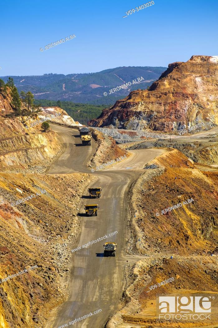 Stock Photo: Main open pit copper sulphur mine at Rio Tinto, Sierra de Aracena and Picos de Aroche Natural Park. Huelva province. Southern Andalusia, Spain. Europe.