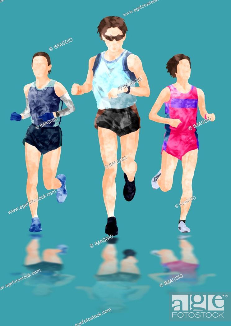 Stock Photo: Illustration Of Female Athletes Running.