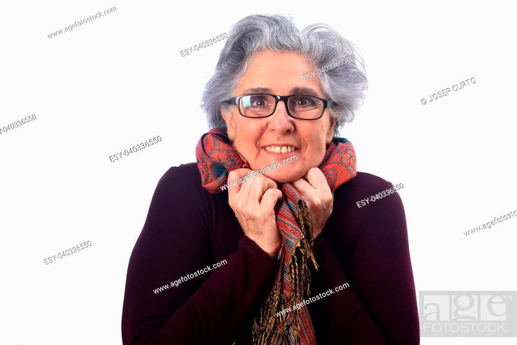 Imagen: portrait of senior woman on white background.