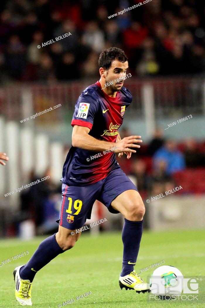 Stock Photo: 16 01 2013 Barcelona, Spain Montoya in action during the Spanish Copa del Rey game between Barcelona and Malaga from the Nou Camp.