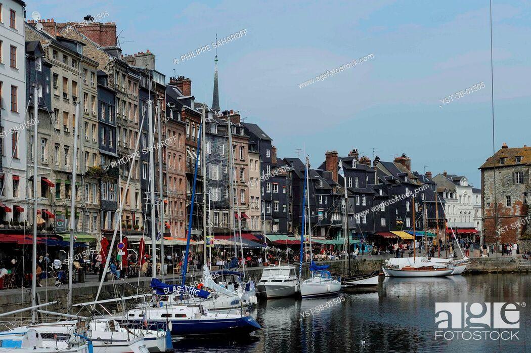 Stock Photo: Buildings, Bavole Street, Honfleur, France.