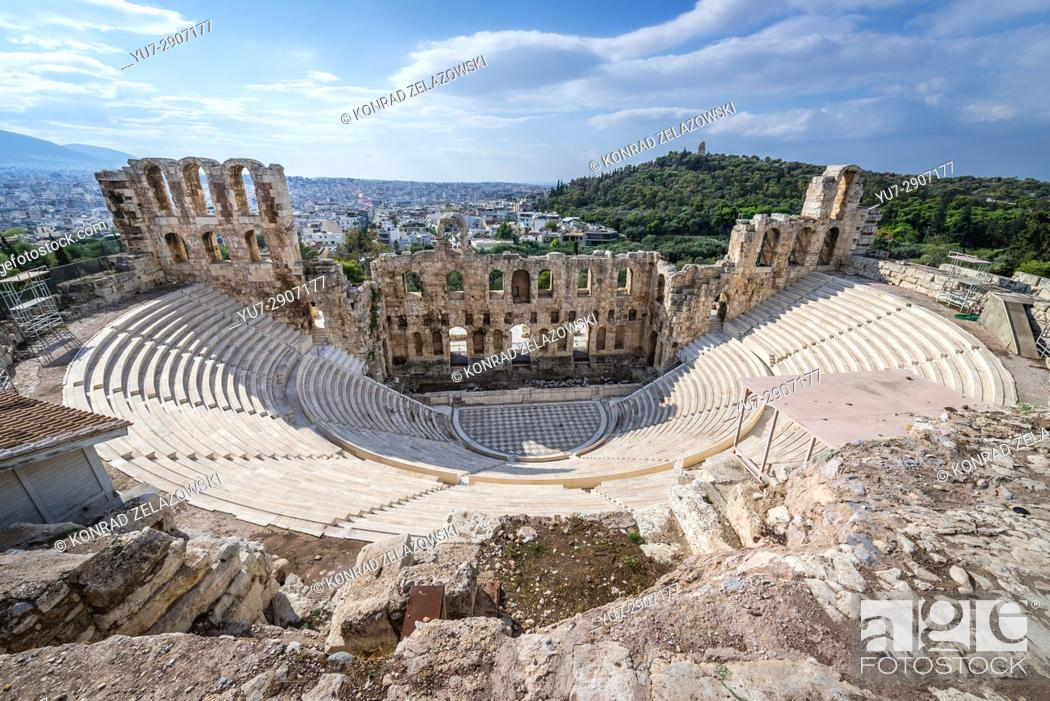 Stock Photo: Aerial view of Odeon of Herodes Atticus, part of ancient Acropolis of Athens city, Greece.