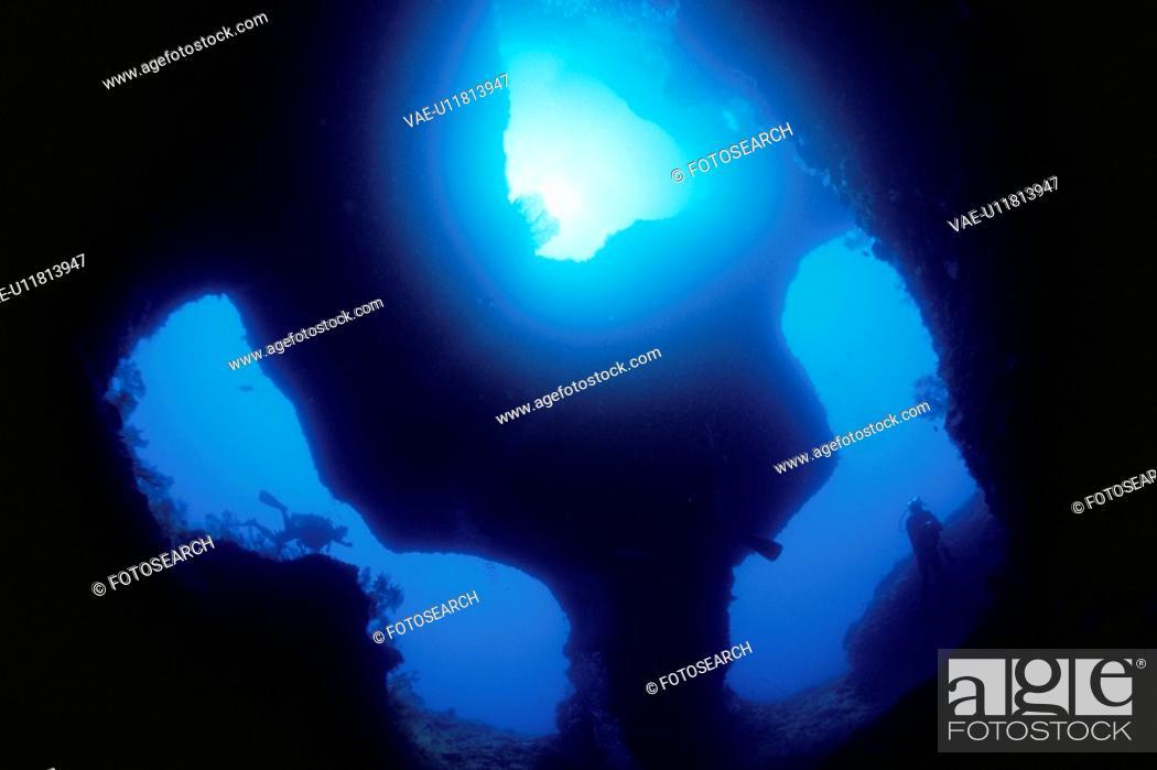 Stock Photo: Three Underwater Caves.