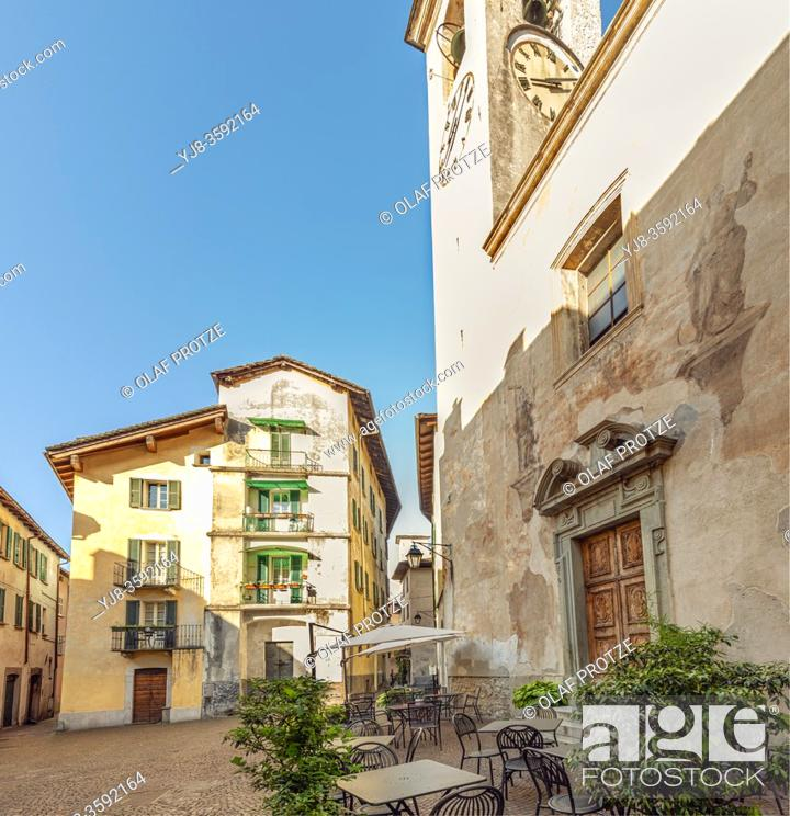 Stock Photo: Piazza in the historic old town of Chiavenna, Lombardy, Italy.