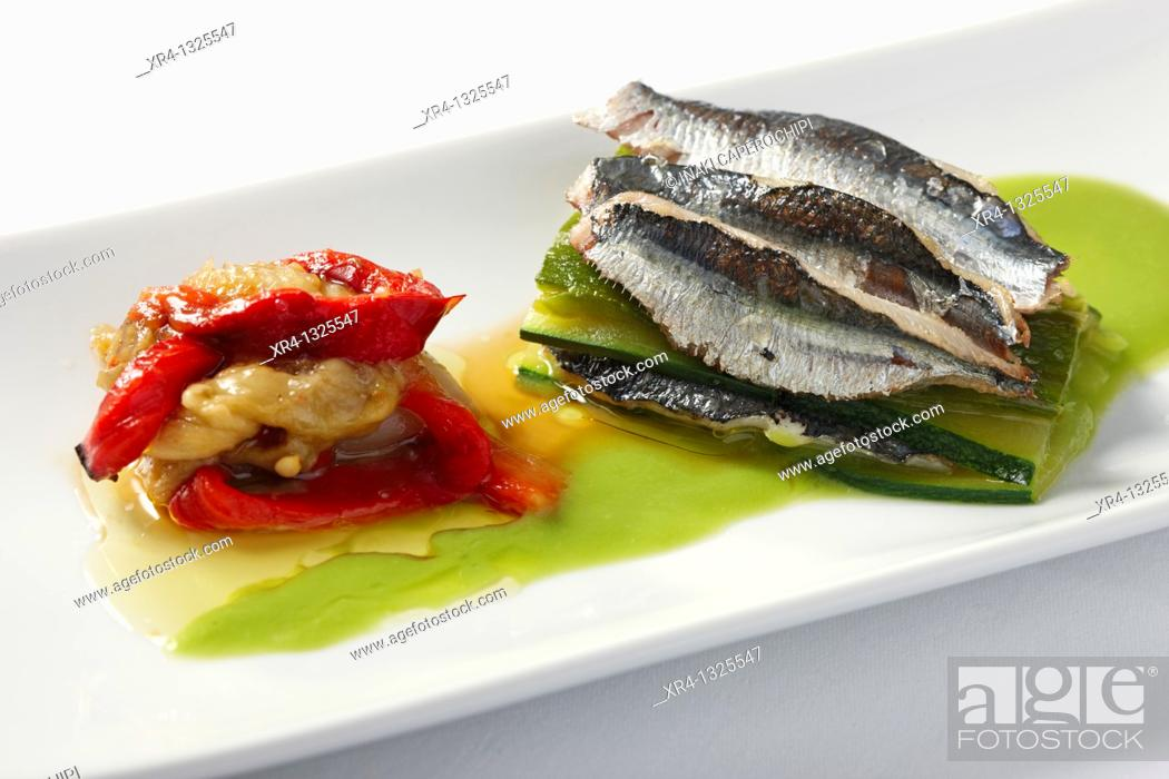 Stock Photo: Lasaña de sardinas con escalibada y salsa de guisantes, CEBANC, San Sebastian, Donostia, Gipuzkoa, Guipuzcoa, Basque Country, Spain.