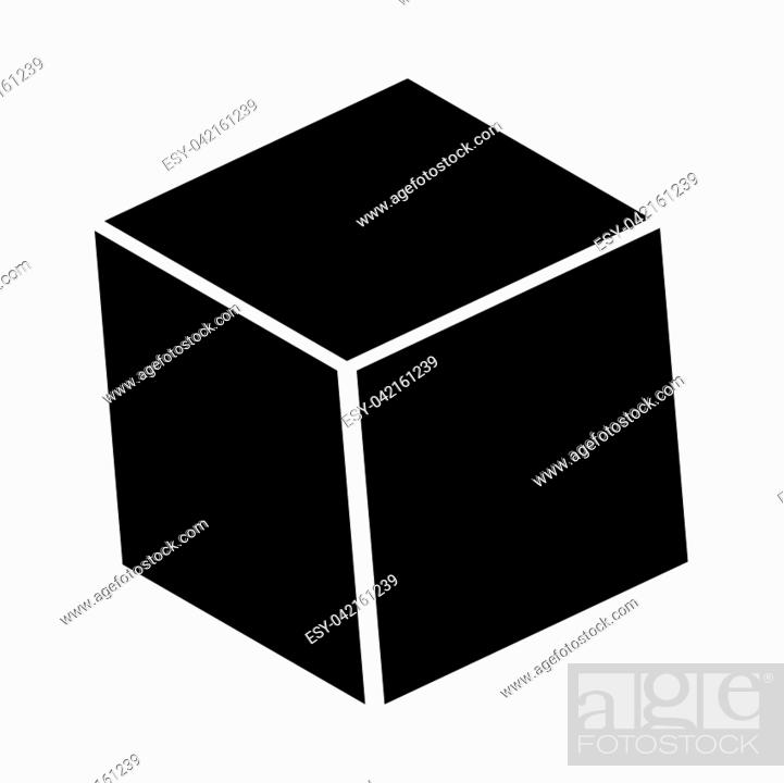 Stock Vector: Cube it is black icon . Flat style.