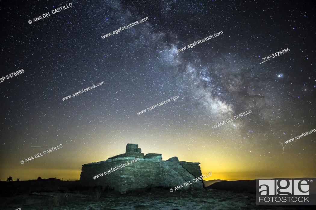 Stock Photo: Milky way in Gudar mountains Teruel Aragon Spain.