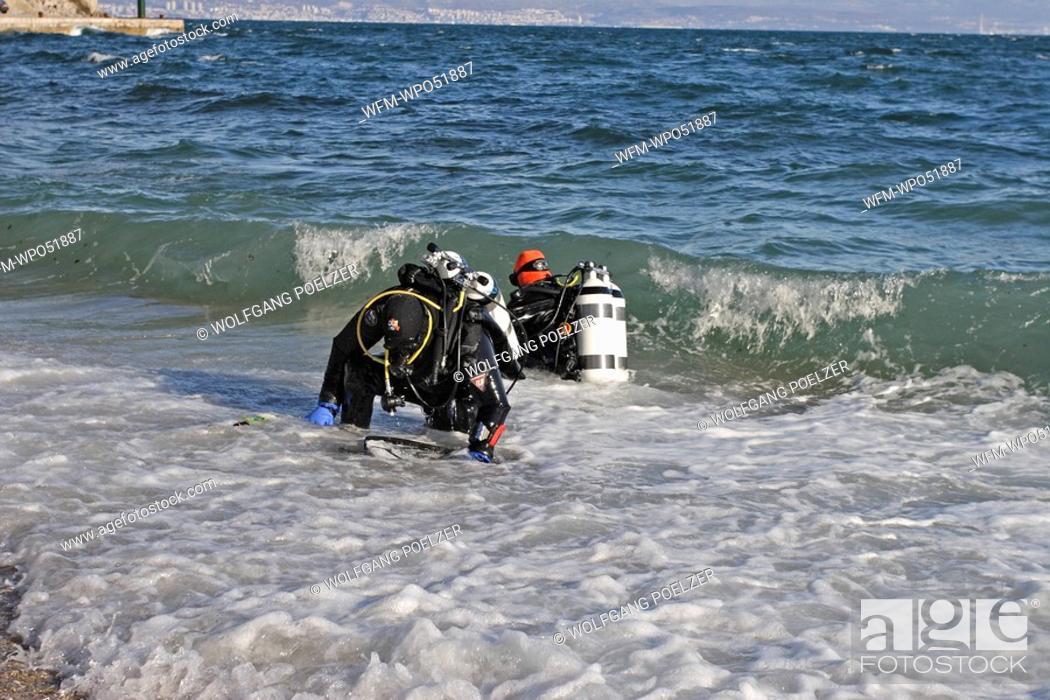 Stock Photo: Scuba Diver in Surf Zone, Istria, Adriatic Sea, Croatia.