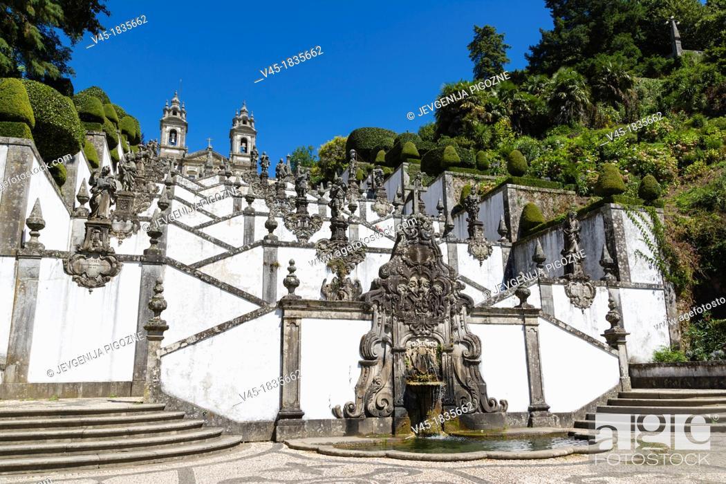 Stock Photo: Igreja do Bom Jesus with Fonte das Cinco Chagas, Escadorio dos Cinco Sentidos, Staircase of Five Senses, Santuario do Bom Jesus do Monte.