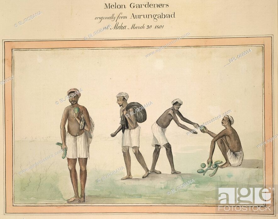 Imagen: Melon Gardeners originally from Aurungabad at Moka. March 30, 1801. Image taken from Album of 82 drawings depicting the costume of various castes in Balaghat.