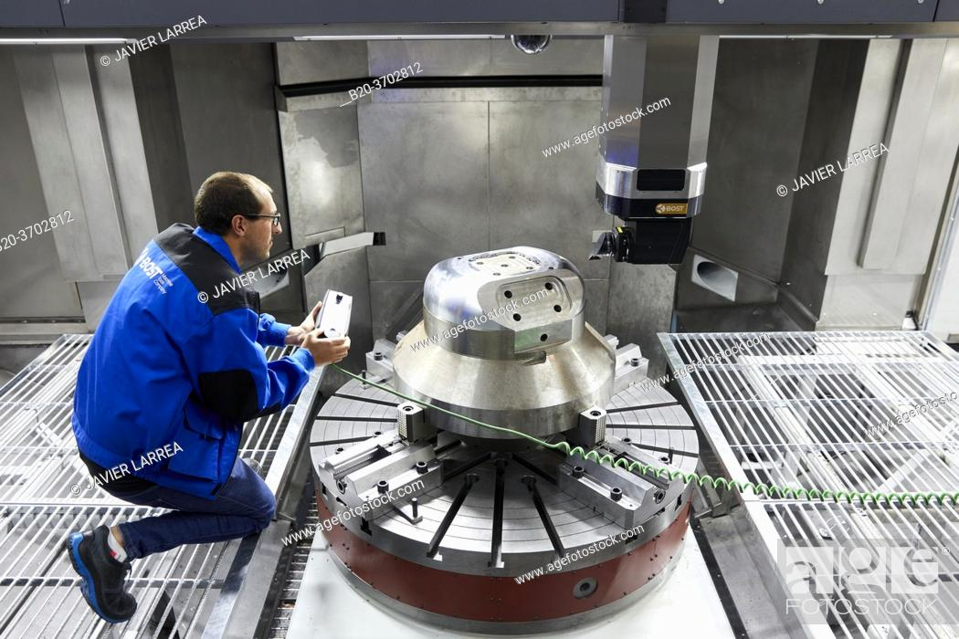 Stock Photo: Construction of machine tools, machining centre, CNC, Vertical turning and Milling lathe, Metal industry, Gipuzkoa, Basque Country, Spain, Europe.