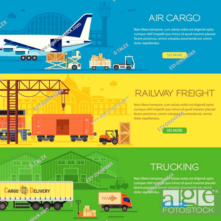 Trucking Industry Banners With Railway Freight And Air Cargo In Flat Style Icons Such As Truck Stock Vector Vector And Low Budget Royalty Free Image Pic Esy 036944569 Agefotostock