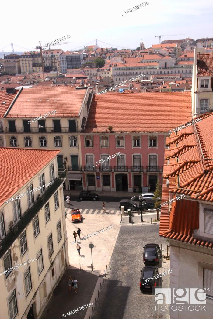Stock Photo: Aerial view of Lisbon rooftops Portugal.