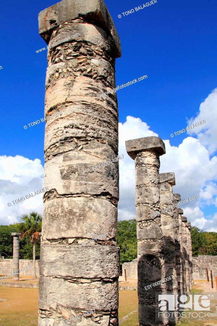 Stock Photo: Columns Mayan Chichen Itza Mexico ruins in rows Yucatan.