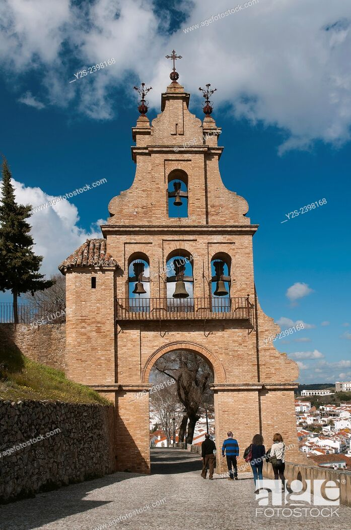 Stock Photo: Belfry gate of the castle and village, Aracena, Huelva province, Region of Andalusia, Spain, Europe.