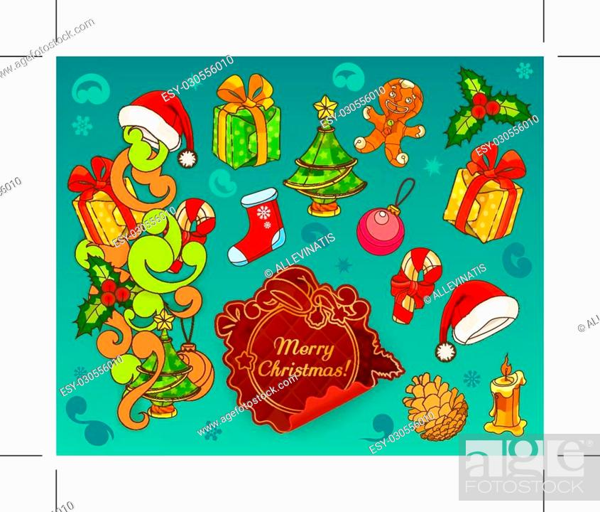 Stock Vector: Set with christmas doodle vector icons.