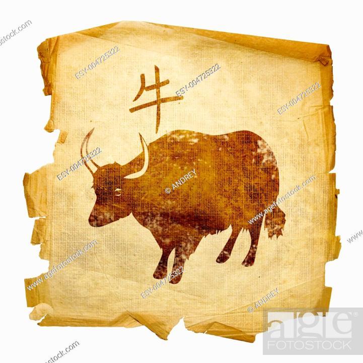 Stock Photo: Ox Zodiac icon, isolated on white background.