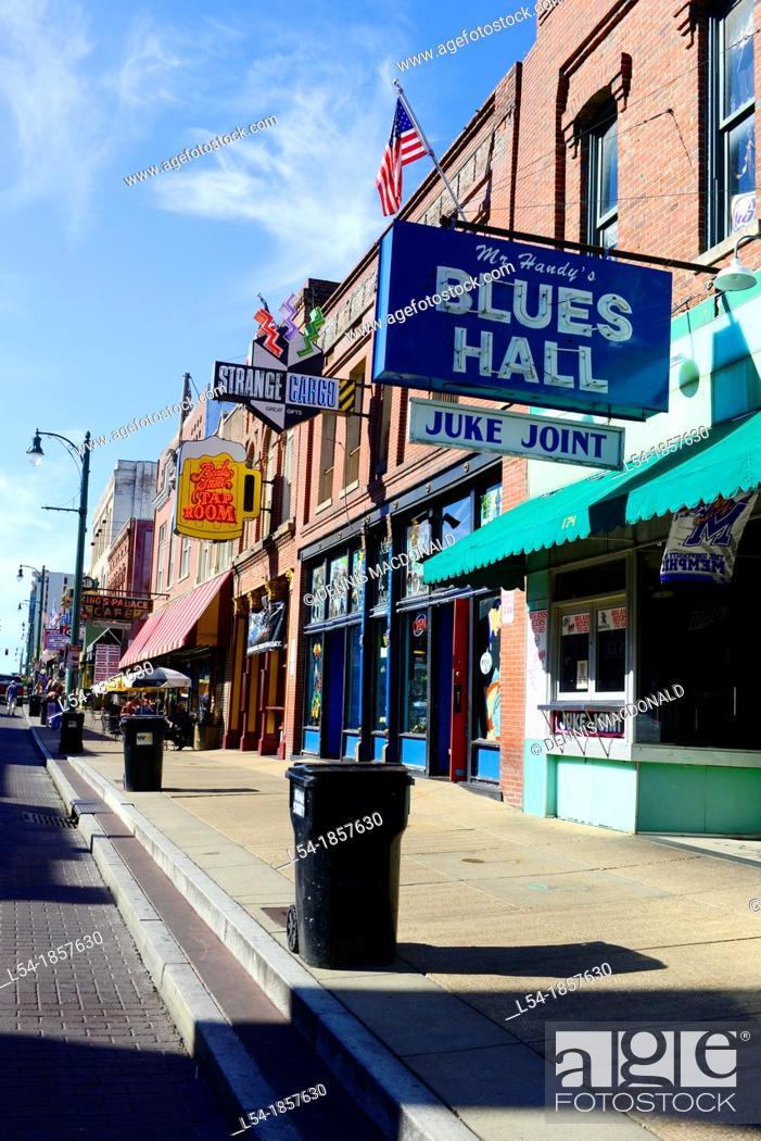 Stock Photo: Beale Street Blues Music Memphis Tennessee TN.