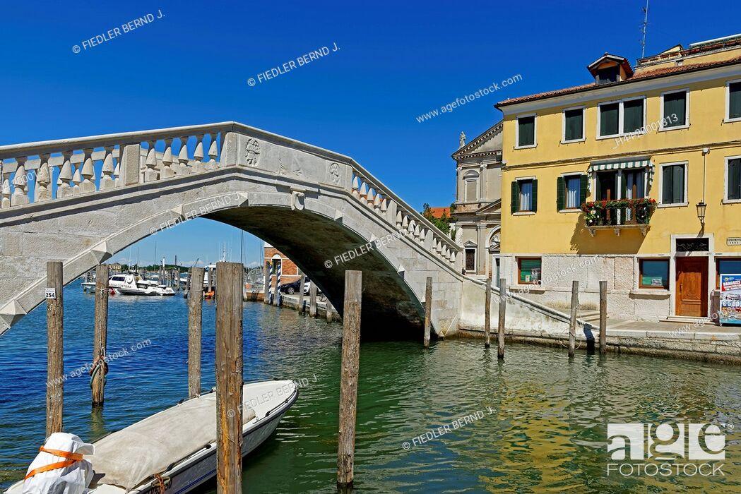 Stock Photo: Chioggia, bridge, Ponte Vigo.