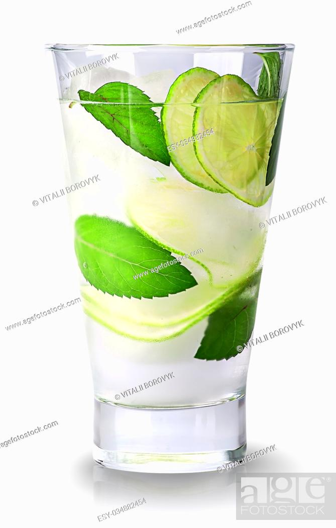 Stock Photo: Lime mojito in glass isolated on white background.