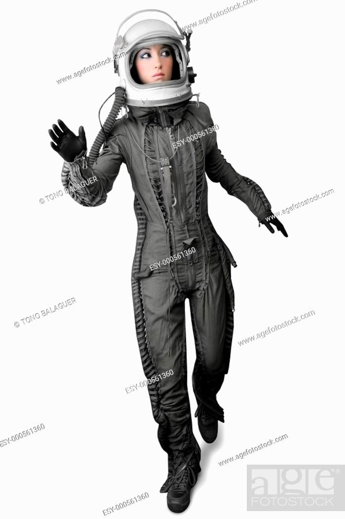 Photo de stock: astronaut fashion woman full length space suit helmet isolated on white.