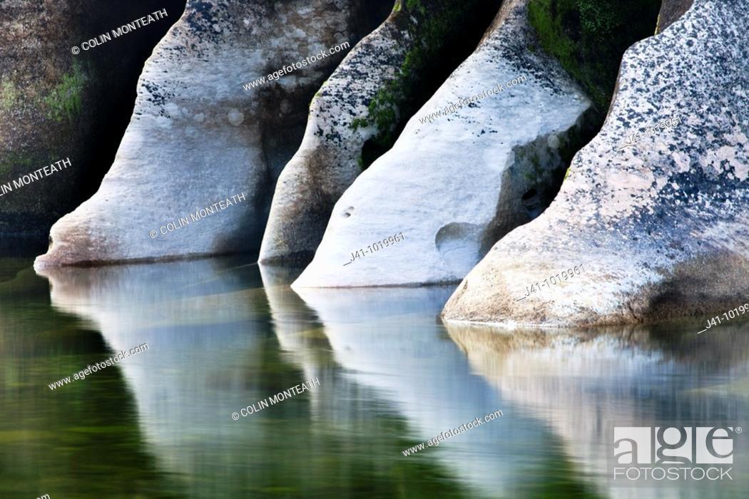 Stock Photo: Limestone reflections, Fox River, Paparoa National Park, West Coast, New Zealand.