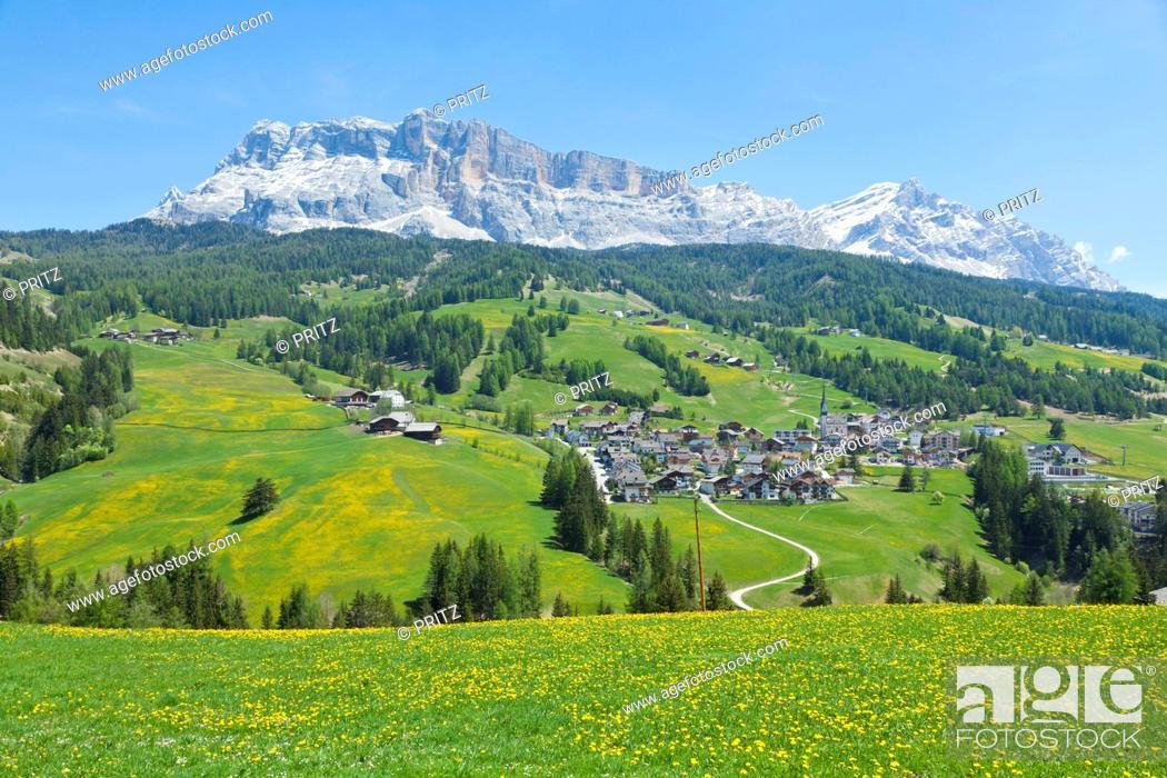 Stock Photo: View above Alta Badia to the Fanes group with Heiligkreuzkofel, Dolomites, Italy.