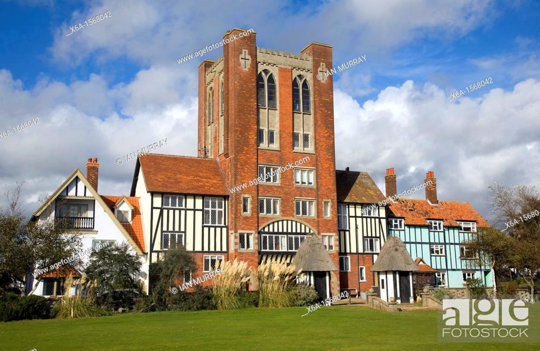 Stock Photo: Eccentric mock Tudor architecture of water tower and houses, Thorpeness, Suffolk, England.