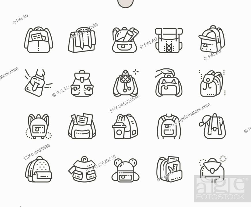 Stock Vector: Backpack Well-crafted Pixel Perfect Vector Thin Line Icons 30 2x Grid for Web Graphics and Apps. Simple Minimal Pictogram.